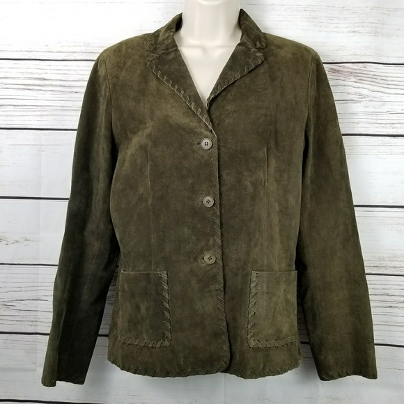 Worth Jackets & Blazers - Worth | Olive Green Suede Leather Jacket